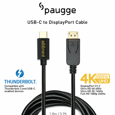 Paugge 4K 60Hz USB C to Displayport Kablo - 1.8 Metre