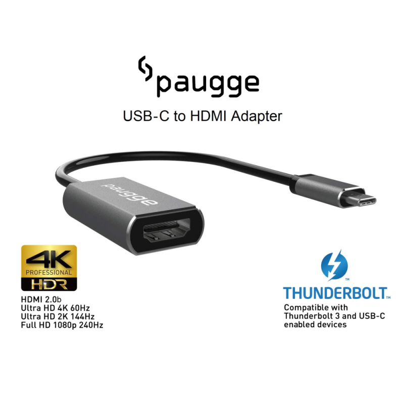 Paugge 4K 60Hz HDR USB C to HDMI Adaptör