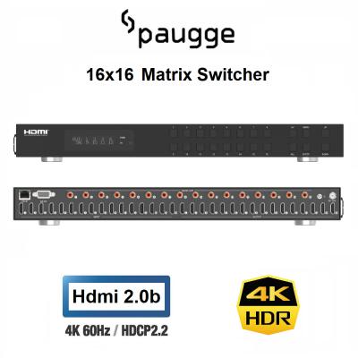 Paugge 16x16 HDMI Matrix Switcher - Hdmi 2.0b 4K60Hz HDR EDID WEB GUI