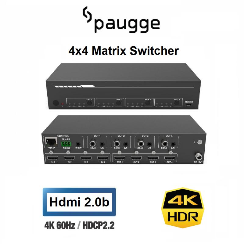 Paugge 4x4 HDMI Matrix Switcher - Hdmi 2.0b 4K60Hz HDR EDID WEB GUI